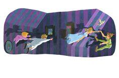 Eyvind Earle's illustrations for the Little Golden Book titled Peter Pan and Wendy Part 2 Disney Concept Art, Disney Fan Art, Disney Love, Walt Disney, Peter Pan Art, Peter Pan Neverland, Eyvind Earle, Peter Pan Nursery, Disney Doodles