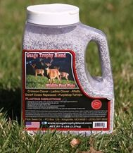 OTB- Osage trophy blend.  A blend Designed specifically for Whitetail Deer.  Great for a get them through winter where you can't feed them plot!  5lb container plants 3/4 acre or 32,670 sq.ft.  Contains: Dwarf Essex Rape Seed, Alfalfa, Purple Top Turnips, Crimson Clover and Ladino Clover.