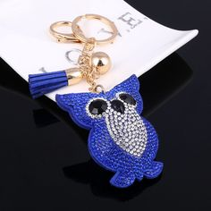 Resultado de imagem para Cheap Cute Owl Keychain Full Rhinestone Crystal Keyring Car Key Chain Women Key Holder Ring Bague