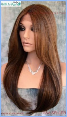 Swiss Lace Front Center Part  Wig Long Straight FS8.27.613 GORGEOUS SEXY 1277 #Sepia