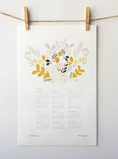 Image of 2013 Floral Wall Calendar Leah Duncan Diy Calendar, Calendar Design, Wall Calendars, Illustration Blume, Botanical Illustration, Art Graphique, Floral Illustrations, Floral Wall, Grafik Design