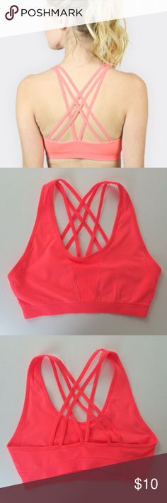 Brand New!! Neon Coral Criss Cross Sports Bra Soft and snug sports bra with criss cross detail. Last photo is a picture of the label in the green bra. (Each color has the same label) Intimates & Sleepwear Bras