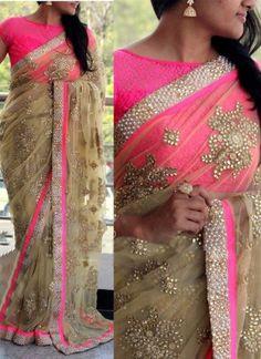 ab3ecd7db438e8 Beige Pink Diamond Work Net Satin Raw Silk Wedding Designer Sarees. Diamond work  sarees online.