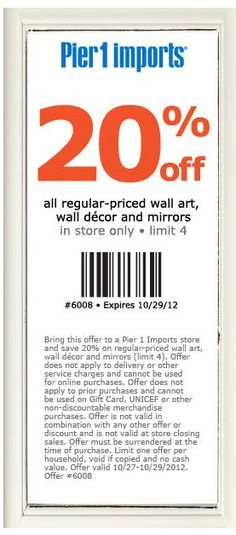 coupons for coach outlet tyhn  #Pier 1 #Coupon  Spruce up your #home with some new #wall