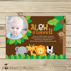 Safari Birthday Printable Jungle Animals Invitation party 5x7 invitation. $10.00, via Etsy.