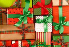 Christmas, new year and other holiday boxes Crop, close up royalty free stock image Stock Foto, Christmas Photos, Close Up, Royalty, Boxes, Gift Wrapping, Holiday, Image, Gifts