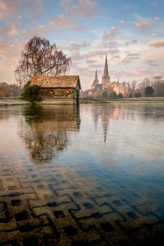 Stowe Pool with Lichfield Cathedral in the distance - Lichfield, Staffordshire, England by Dave Fieldhouse