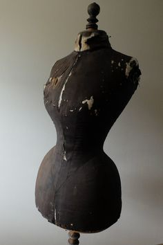 Antique French Stockman wasp waist mannequin or dress form  from the 1800's