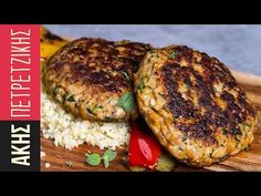 Chicken burger patties by Greek chef Akis Petretzikis. Chicken burgers with bulgur and sautéed vegetables for a quick, easy tasty meal that is ready in minutes! Easy Delicious Recipes, Yummy Food, Ground Chicken Recipes, Chicken Patties, Greek Cooking, Love Eat, Burger Recipes, Greek Recipes, Tasty Dishes