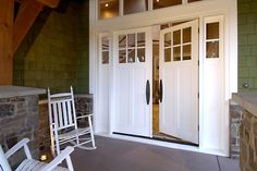 Want something different on your front door? Beautiful white painted french doors with sidelights. 7662 with optional flat panel Double Front Entry Doors, Craftsman Front Doors, Double Doors Exterior, Front Door Entrance, Craftsman Style, Door Entry, Grand Entrance, Doorway, Front Porch