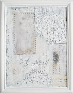 white mixed media painting. modern painting in vintage frame. kiss and make up.