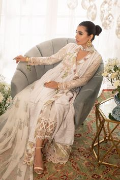 Annus Abrar - Women's clothing Designer. Floria How To Iron Clothes, Silk Pants, Indian Couture, Silk Thread, White Fabrics, Shirt Sleeves, Lace Detail, Bridal Dresses, Hemline