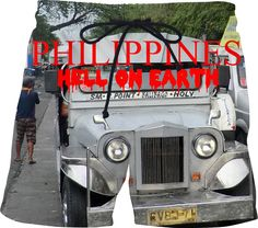 """Custom Swim Shorts. Your statement """"Philippines – Hell on Earth"""" comes also in German, Spanish and French language! So the World may know! Also, available as Sweatshirt, Hoodie, Yoga Pants, Handy cover, Joggers, Leggings, Tee, Beach Towel, Tank Top, Crop Top, pillowcase, Onesie, fleece blanket, dress, Bandana, mug, glass, laptop, shower curtain, underwear, swim shorts.  Philippines, Manila, Bohol, travel,  novelty, World, apparel, extra, computer, Pinterest, pin, bestseller."""