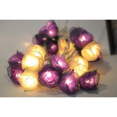 20 White and Purple Handmade Real Leaf Rose Flower Leaf String Light... ($17) ❤ liked on Polyvore featuring grey, home & living, lanterns and lighting