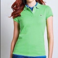Lacoste green polo shirt classic fit large cotton Lacoste classic fit two button Green polo shirt size 46 like a large or extra-large fantastic color like new condition size 12/14 Lacoste Tops Tees - Short Sleeve