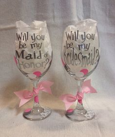 Will you be my Maid of Honor Wine Glass on Etsy, $15.00