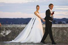 In diesem Traum aus Seidenchiffon von Armani schritt Beatrice Borromeo zu ihrer Hochzeitsfeier.