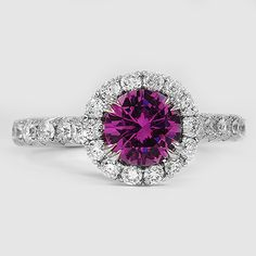 18K White Gold Sapphire Sienna Ring // Set with a 6mm Pink Round Sapphire