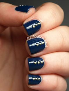 Ideas for Your Next Manicure: Navy and Gold: When a few coats of dark blue polish aren't enough, copy Sammy's blinged-out nail art. The blogger behind The Nailasaurus applied three tiny gold studs and finished the look with a shiny gel topcoat.