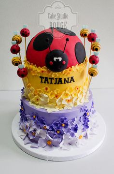Ladybug Cake 2 Tier Cake, Tiered Cakes, Edible Creations, Cake Creations, Ladybug Cakes, Ladybug Party, Icing Frosting, Specialty Cakes, Cake Boss