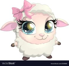 beautiful sheep with big eyes on white background Funny Sheep, Cute Sheep, Cute Images, Cute Pictures, Alice In Wonderland Cross Stitch, Sheep Drawing, Sheep Cartoon, Sheep Vector, Hijab Cartoon
