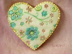 heart cookie with flowers by tesorocookies, via Flickr
