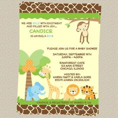 jungle baby shower theme | Safari Baby Shower Invitations, Jungle Theme, Set of 10 invites with ...