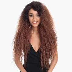 High quality lace front wig dark brown yellow wave long hair natural hairline - wigslily You are in Brown Hair Shades, Brown Ombre Hair, Light Brown Hair, Brown Hair Colors, Dark Brown, Yellow Hair, Short Hair Wigs, Long Wigs, Easy Party Hairstyles