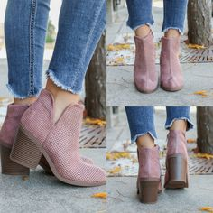 Tarpon-S Blush Faux Suede Ankle Booties - UOIOnline.com