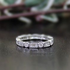 1.08 ct.tw Eternity Band Ring-Brilliant & Baguette Cut Diamond Simulants-Wedding Ring-Bridal Ring-Stackable Ring-925 Sterling Silver-R59716