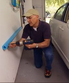 How to Make a Door Bumper with a Pool Noodle Joe is a huge fan of repurposed pool noodles and now he's saving paint off the garage walls and car doors! The post How to Make a Door Bumper with a Pool Noodle appeared first on Werkstatt ideen. Garage Shed, Garage House, Garage Workshop, Garage Doors, Workshop Ideas, Garage Workbench, Garage Cabinets, Garage Racking, Car Garage
