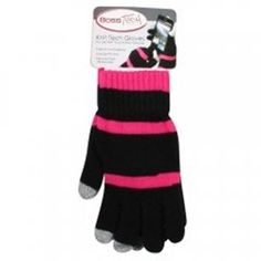 Boss Tech Touch Screen Gloves - Black Glove with Pink Stripes and Gray Tips 37818382ff3