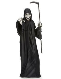 Disfraz de segador hombre: Este disfraz de segador para hombre incluye una túnica y una capucha (hoz, guantes y zapatos no incluidos). La túnica es larga de color negro ocn las mangas anchas. Una banda fina de...