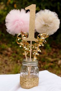 Pink and Gold Party Decorations Centerpiece Birthday Party First Birthday Photo Prop Party Birthday Centerpiece Table Decoration ***Please note that current processing time is up to 2 weeks plus shipp Ballerina Birthday, Baby Girl Birthday, Unicorn Birthday, Cousin Birthday, First Birthday Photos, First Birthday Parties, Birthday Ideas, Fairytale Birthday Party, Birthday Diy