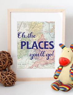 Oh the places you'll go Dr. Seuss vintage map print by CheekyAlbi, $12.00