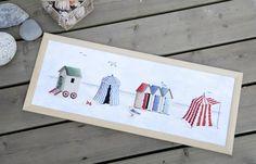 Cabanas at the seaside (free cross stitch pattern) Cross Stitching, Cross Stitch Embroidery, Embroidery Patterns, Cross Stitch Patterns, Stitches Wow, Cross Stitch Sea, Uncommon Threads, Cross Stitch Freebies, Dmc