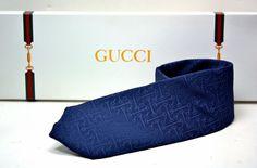 NWT Men'sAuthentic Gucci necktie in dark navy blue #Gucci #NeckTie