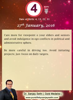 #Numerology‬ predictions for 27th January'16 by Dr.Sanjay Sethi-Gold Medalist and World's No.1 #AstroNumerologist.