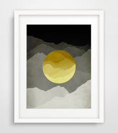 Yellow and Grey Mid Century Modern Art Print Mountains by evesand