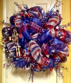 4th of July deco mesh wreath for Brenda by T's Creations