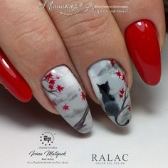 30 Pretty and Creative Fall Nail Designs - Cat sitting on the tree nail art for fall Tree Nail Art, Cat Nail Art, Tree Nails, Cat Nails, Nail Art Diy, Cat Nail Designs, Fall Nail Art Designs, Beautiful Nail Designs, Autumn Nails