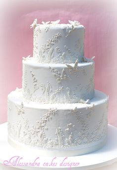 Butterflies in White Wedding Cake