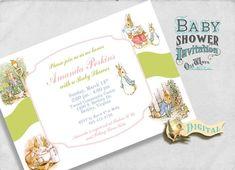 The Tale Of Peter Rabbit Baby Shower Invitation Boy Girl Gender Neutral    Printable Custom Invite