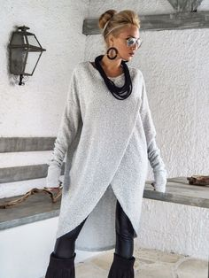 Off White Warm Wool Boocle Knitted Asymmetric by SynthiaCouture