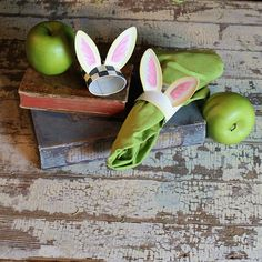 """Bunny Ear Cream Napkin Ring by The Round Top Collection The napkin rings are cream colored. Sold individually Item:#E9060 Dimensions: 4"""" x 2"""" x 4"""""""