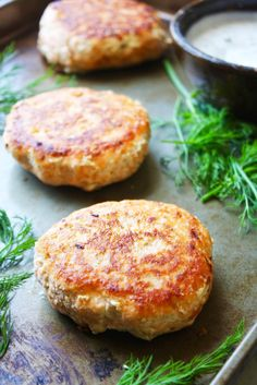 Salmon Burgers with Dill Caper Yogurt sauce