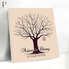 Wedding Guest Book Fingerprint Tree Alternative Canvas Tree Thumbprint Tree Guestbook Personalized Bride and Groom Name with Date with Ink Pads - Wedding guestbooks (*Amazon Partner-Link)