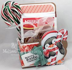 Copic hot cocoa holder using the Stampavie - Penguin with Candy Cane stamp. Made by Melissa