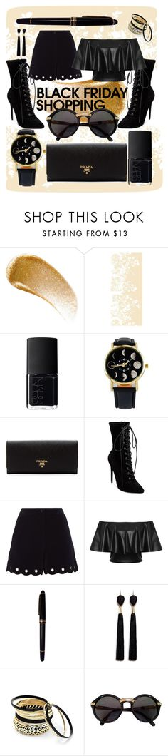 """""""total black"""" by chamyl ❤ liked on Polyvore featuring BBrowBar, Timorous Beasties, NARS Cosmetics, Prada, Steve Madden, Maje, WearAll, Mont Blanc, Mignonne Gavigan and Venus"""