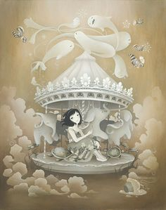 """""""Kokiri Carousel"""" by Amy Sol Edition of 75 Amy Sol, Art Nouveau, Mark Ryden, Lowbrow Art, Pop Surrealism, Pattern Illustration, Pretty Art, Painting On Wood, Art For Sale"""